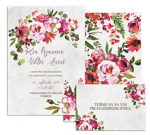 A svadobné oznámenie s akvarelvými kvetmi PINK COAL