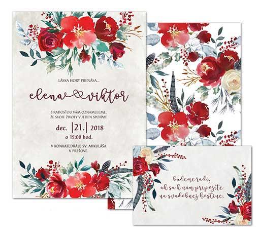 A svadobné oznámenie s červenými kvetmi SCANDI