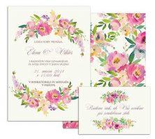 A svadobné oznámenie s pastelovými kvetmi PINK PASTEL