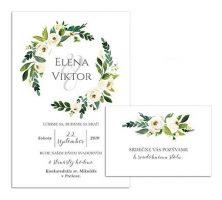 B svadobné oznámenie s bielymi kvetmi WHITE FLOWER