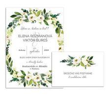 B svadobné oznámenie s bielymi kvetmi WHITE FLOWER WREATH