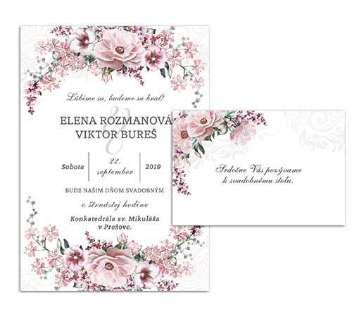 B svadobné oznámenie s ružovými kvetmi WILD ROSE