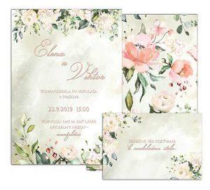 C svadobné oznámenie vintage s jemnými kvetmi ANCIENT TIMES