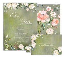 C svadobné oznámenie vintage s jemnými kvetmi GOOD TIMES