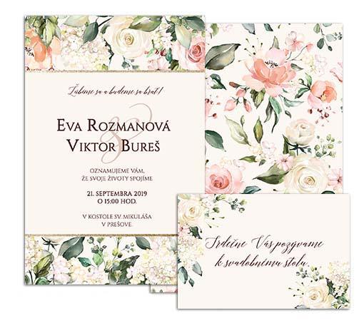 C svadobné oznámenie vintage s jemnými kvetmi SOME TIMES