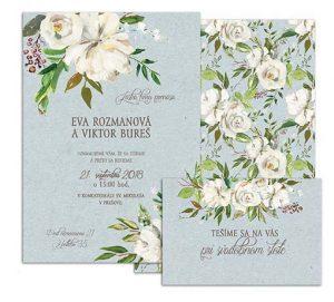 D svadobné oznámenie s bielými antique kvetmi BLUE