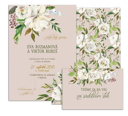D svadobné oznámenie s bielými antique kvetmi BLUSH