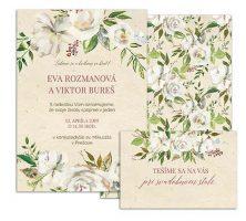 D svadobné oznámenie s bielými antique kvetmi SO FAR