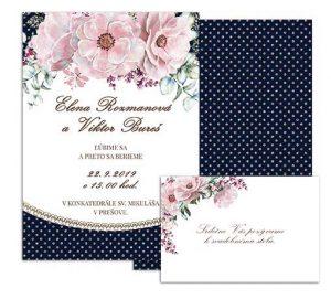 E svadobné oznámenie bodkované s kvetmi CHIARA