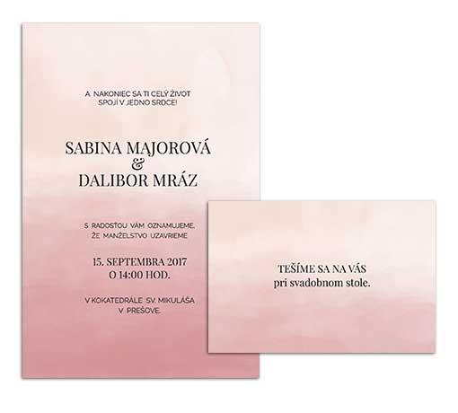 F svadobné oznámenie ombre rožové