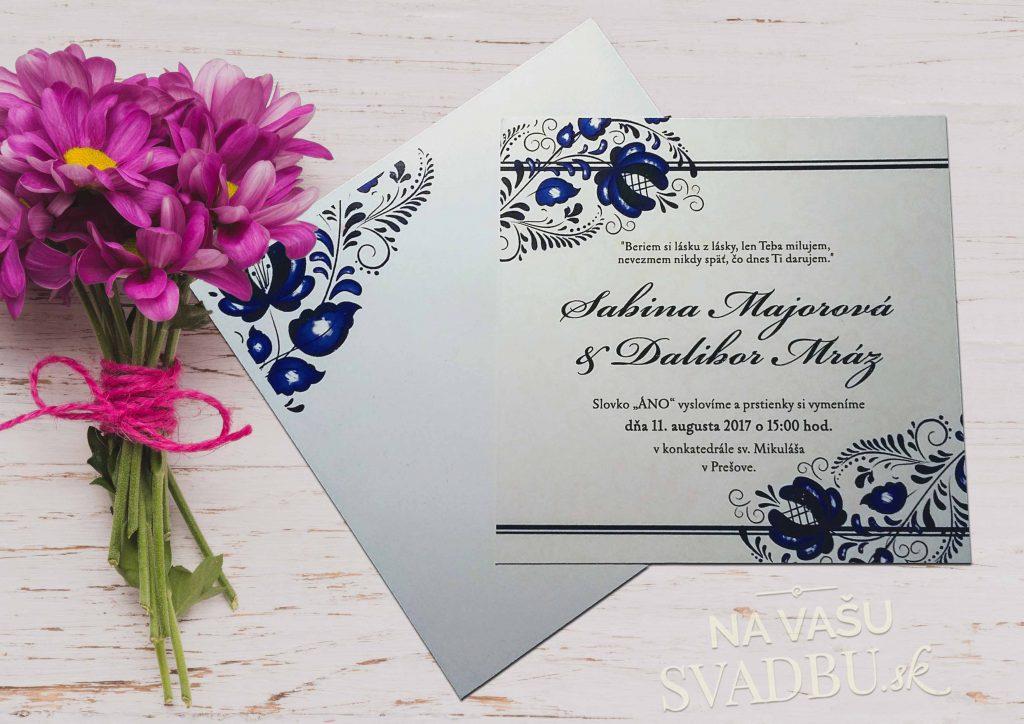 Folklórne svadobné oznámenie s obálkou s potlačou