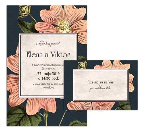 G svadobné oznámenie starodávne kvety lavatera dark