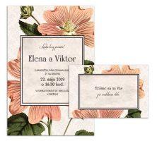 G svadobné oznámenie starodávne kvety lavatera light
