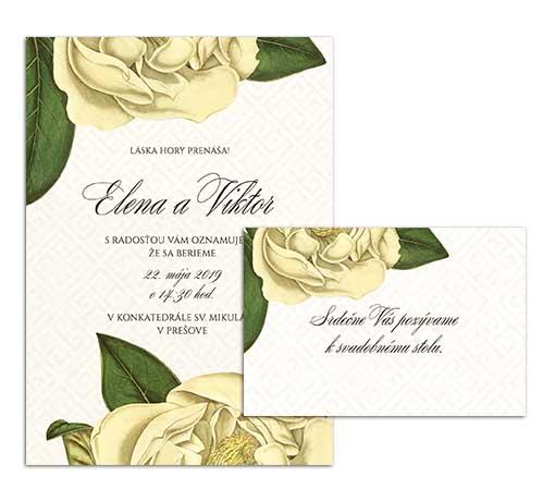 G svadobné oznámenie starodávne kvety magnolia