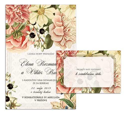 G svadobné oznámenie starodávne kvety nostalgia