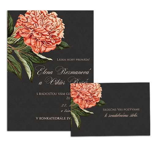 G svadobné oznámenie starodávne kvety pivónia tmavé
