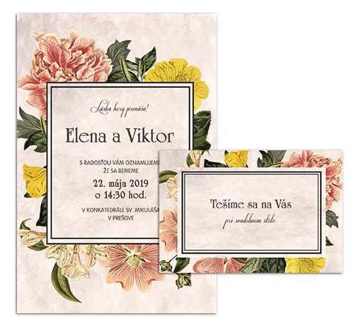 G svadobné oznámenie starodávne kvety svetlé