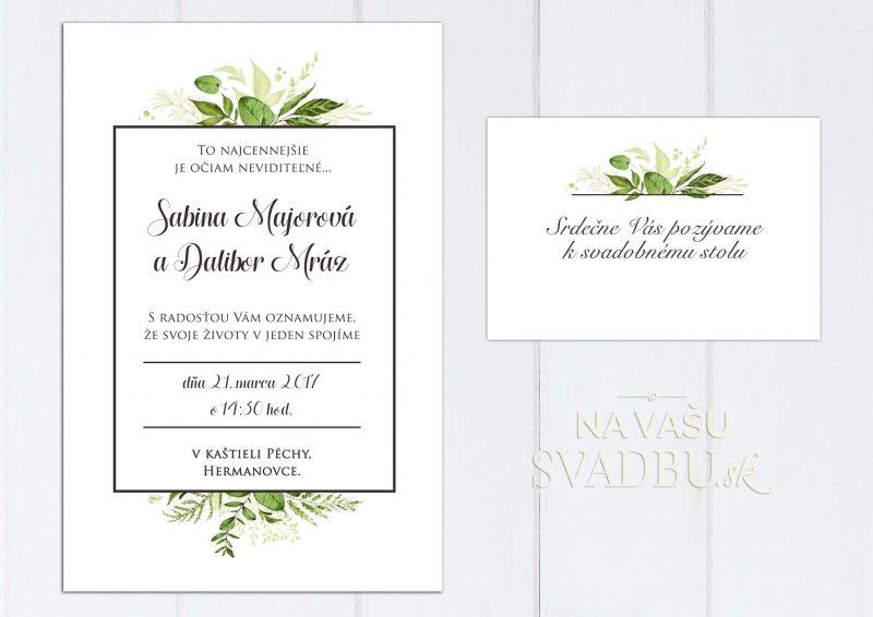 Jednoduché elegantné svadobné oznámenie so zelenými listami