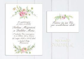 Romantické svadobné oznámenie s kreslenými kvetmi