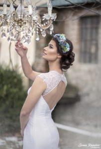 Kvetinová svadobná parta modrá