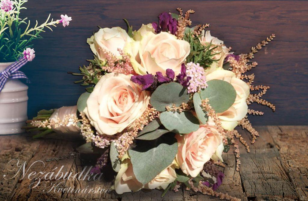 Svadobná kytica púdrová ružová tmavá zelená béžová