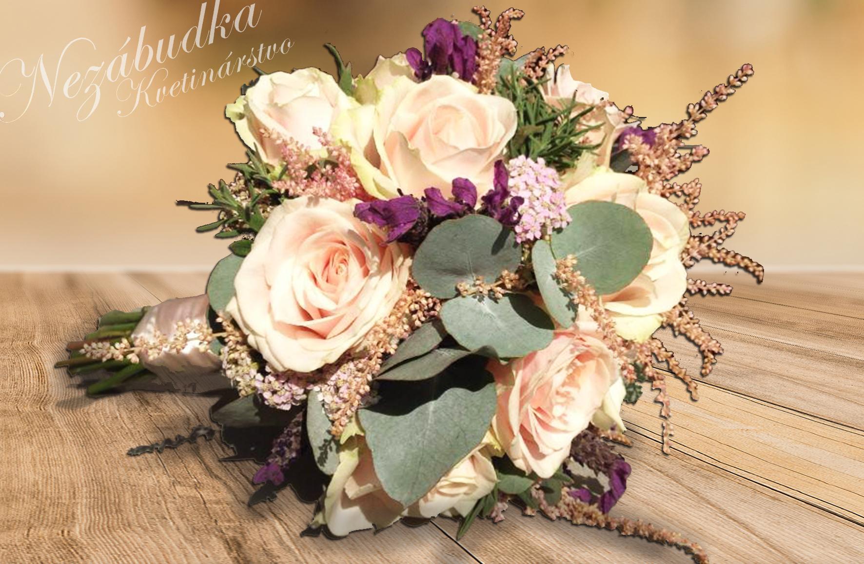 5e88aadba Svadobná kytica púdrová ružová tmavá zelená - Na Vašu svadbu