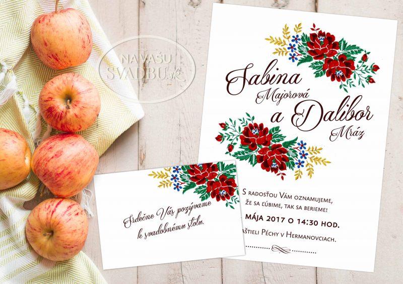 Svadobné oznámenie folklórne s farebnou výšivkou