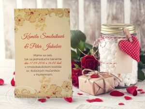 Svadobné oznámenie okrové s kvetmi