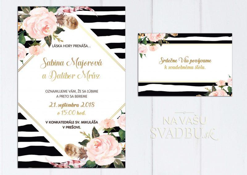 Svadobné oznámenie pruhované s ružami
