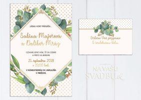 Svadobné oznámenie s listami zeleno zlaté