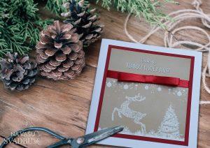 Vianočná pohľadnica handmade kraftová s jelenom