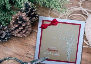 Vianočná pohľadnica handmade kraftová s mašličkou