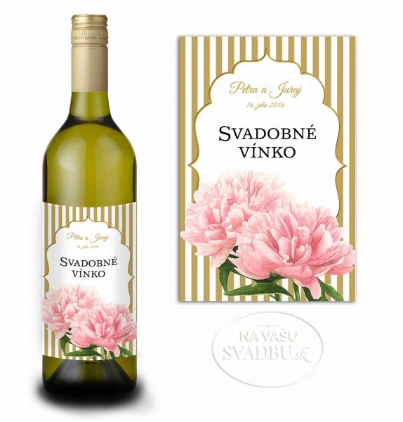 etiketa na svadobné vínko so zlatými pruhmi a pivóniami