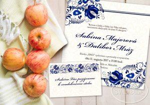 folklorne svadobné oznámenie s ľudovým motívom