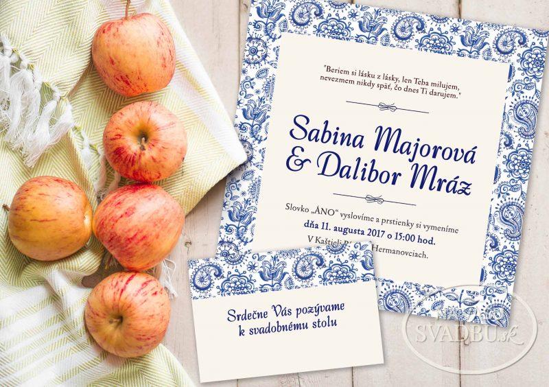 folklorne svadobné oznámenie s ľudovým ornamentom