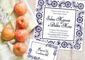 folklorne svadobné oznámenie s ľudovým ornamentom a bodkami