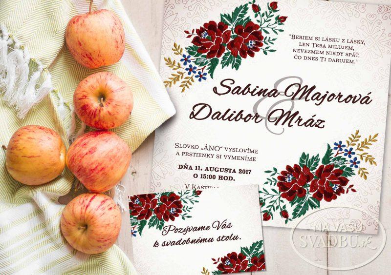 folklorne svadobné oznámenie s ľudovým ornamentom výšivka