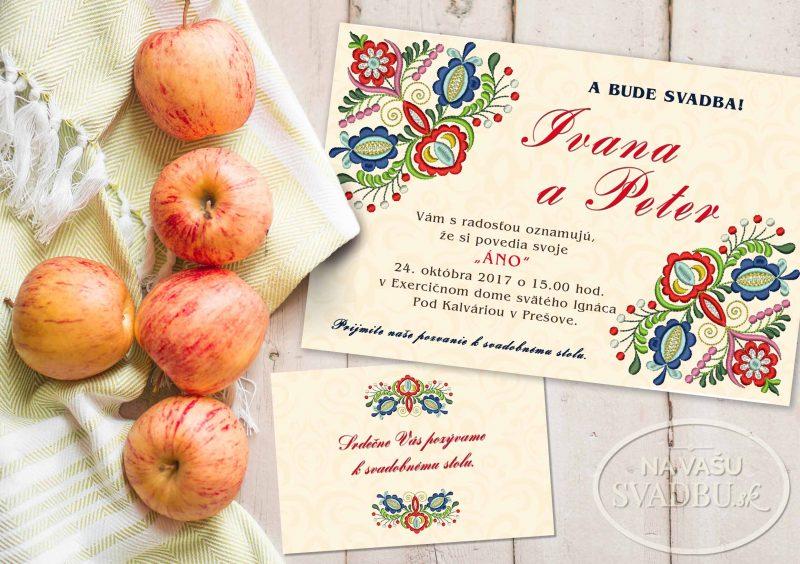 folklorne svadobné oznámenie s ľudovou výšivkou