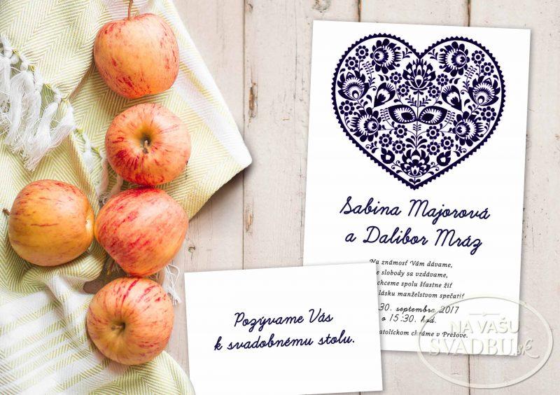 folklorne svadobné oznámenie s maľovaným ornamentom
