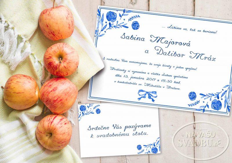 folklorne svadobné oznámenie s maľovanými kvetmi