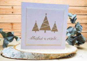 handmade vianočná pohľadnica zlatá s vianočným stromčekom