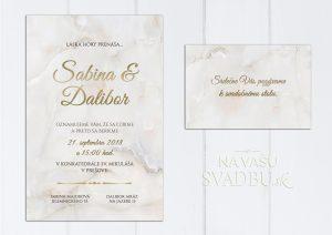 ivory mramorové svadobné oznámenie