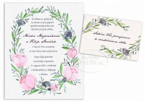 kvetinové svadobné oznámenie kvetinový veniec