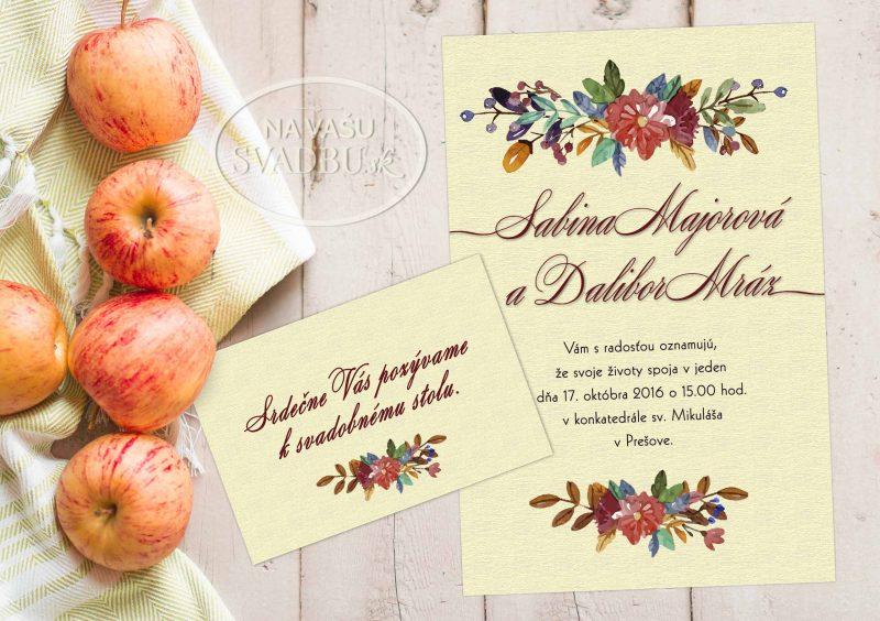kvetinové svadobné oznámenie jesenný motív