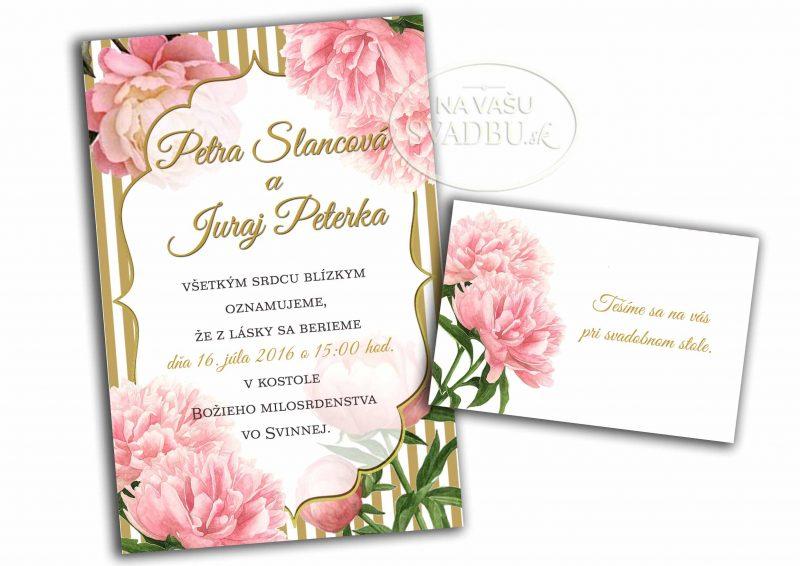 kvetinové svadobné oznámenie s pivóniami a zlatými pruhmi