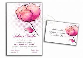 kvetinove svadobné oznámenie aquarel pivónia