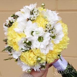 svadobná kytica bielo žltá