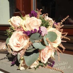 vintage svadobná kytica ružovo fialová tmavo zelená