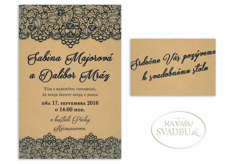 rustikálne svadobné oznámenie s modrou čipkou