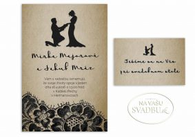 rustikálne svadobné oznámenie s čipkou a postavičkami